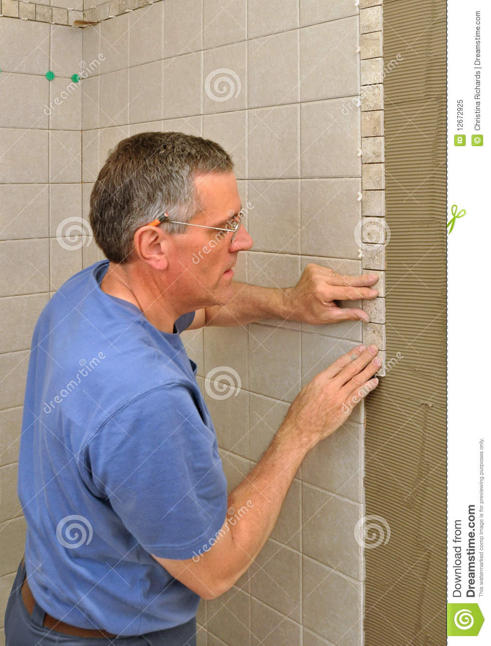 Man Installing Ceramic Tile Border Stock Image Image Of Worker