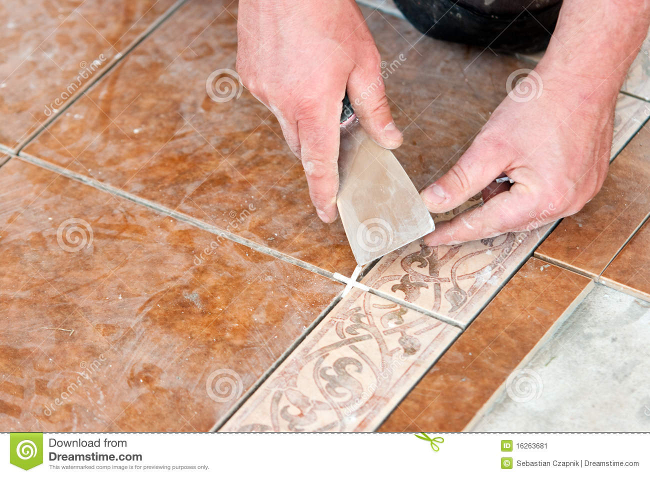 Man installing floor tile stock image image of tiled 16263681 man installing floor tile dailygadgetfo Image collections