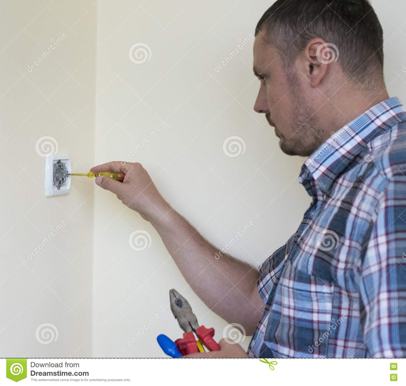 Man Installing Light Switch Stock Photo - Image of outlet ...