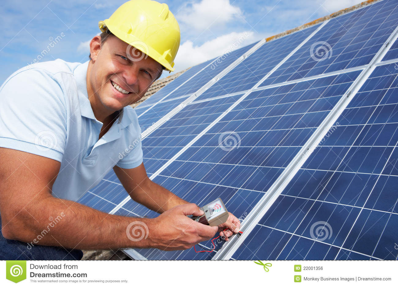 Man Installing Solar Panels Stock Photo Image Of