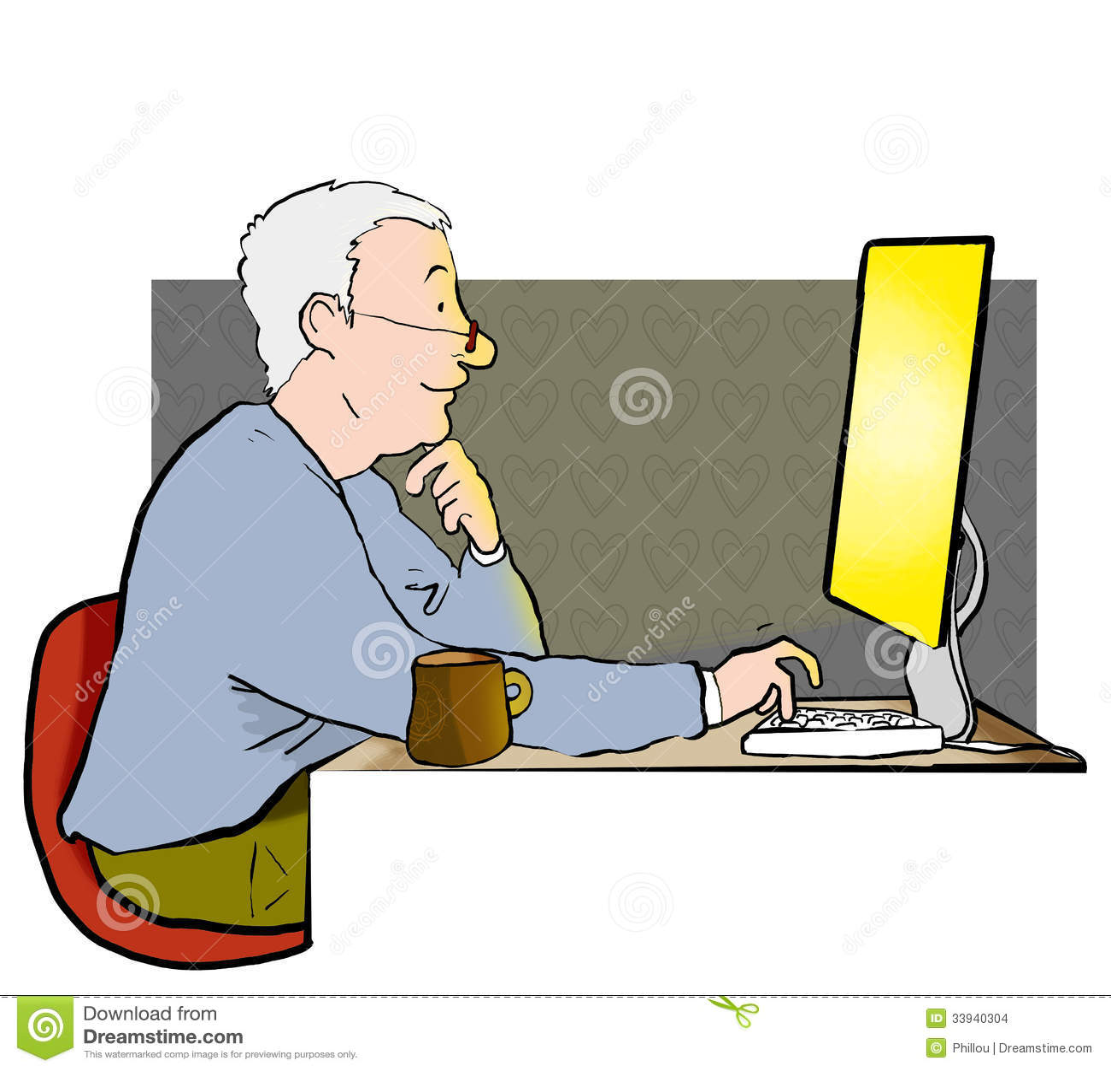 Man on internet