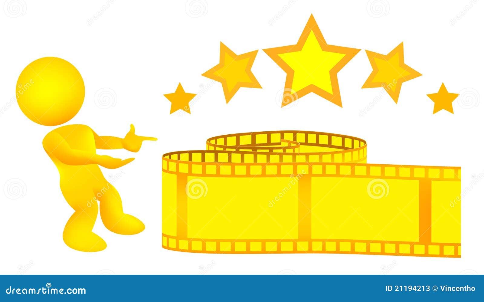 Man Introduces Gold Yellow Film Strip Illustration
