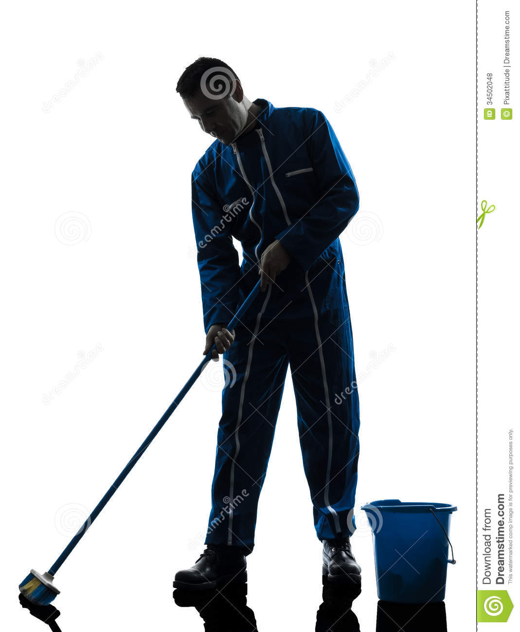 Man Janitor Cleaner Cleaning Silhouette Royalty Free Stock