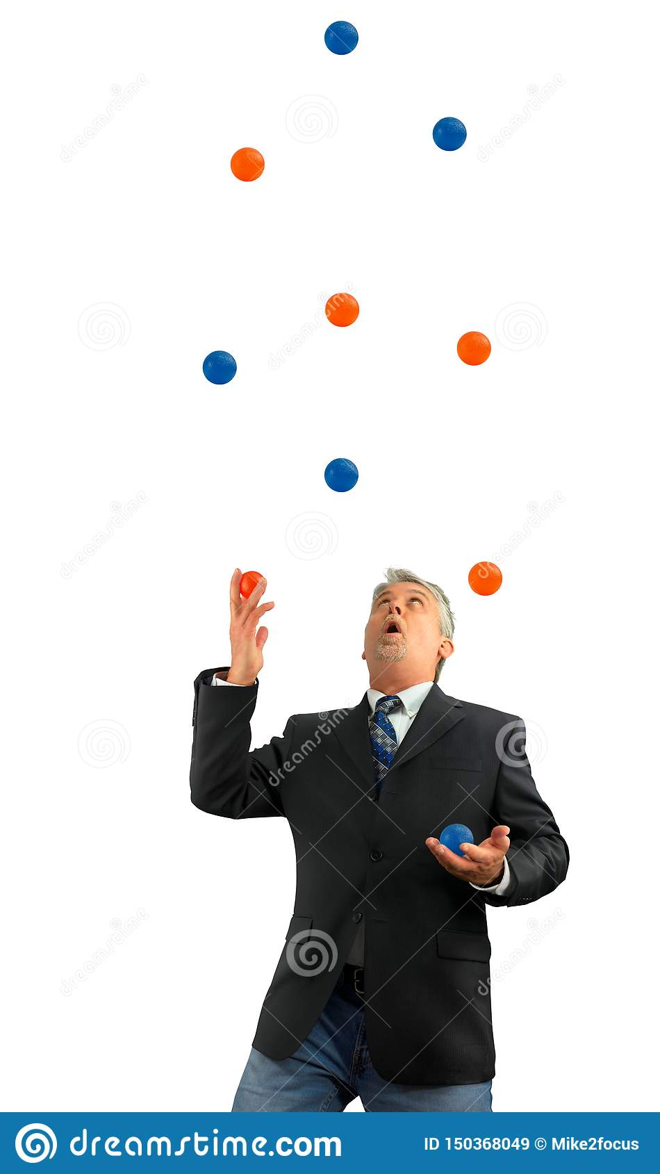 Man juggling a lot of several balls in the air representing being busy in life and business with several stressful things