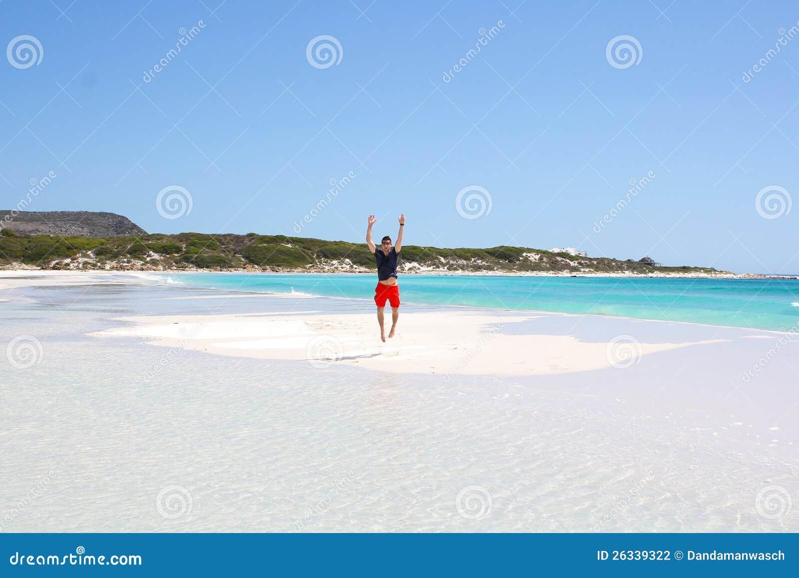 Man jumpin on small island