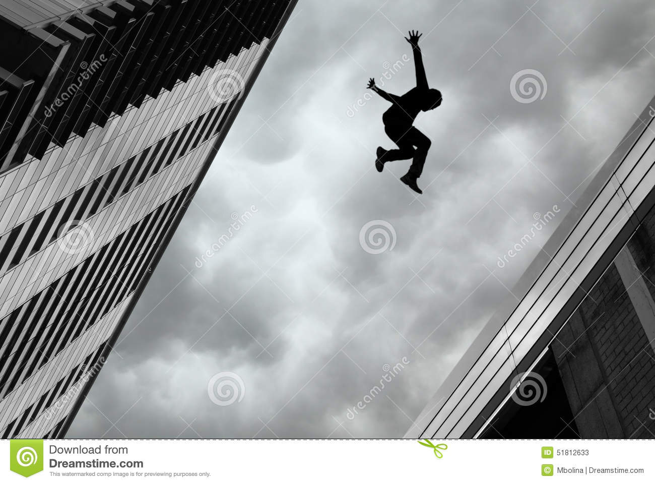 Man Jumping Off Building Stock Photo Image 51812633