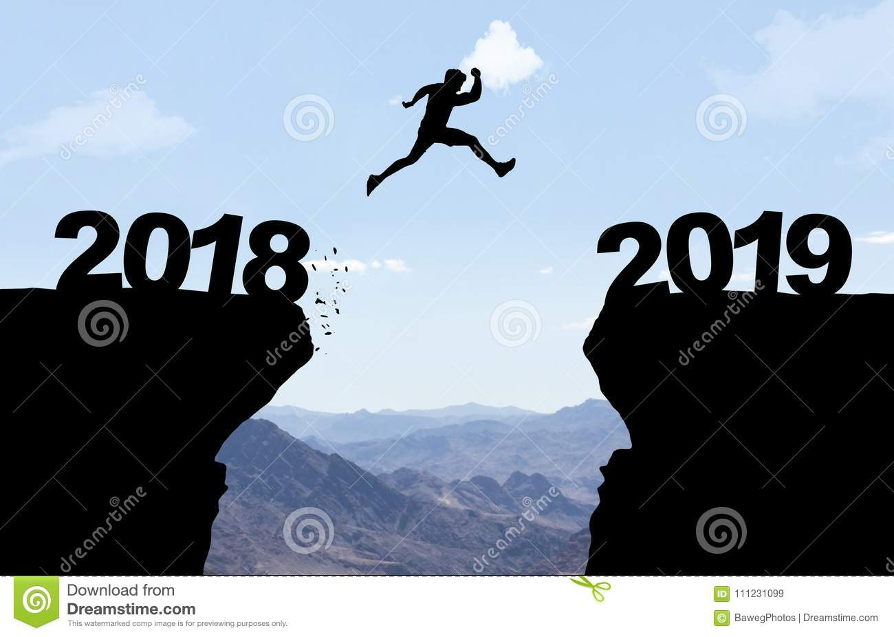 Man jumping over abyss with text 2018/2019