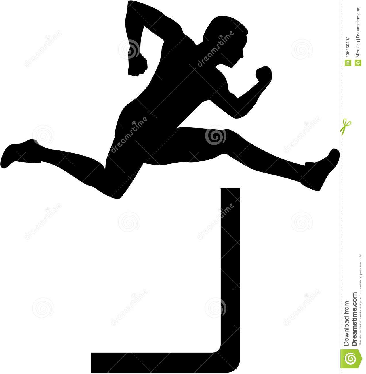 Athlete Jumping Over Hurdles Stock Illustrations – 34 ...