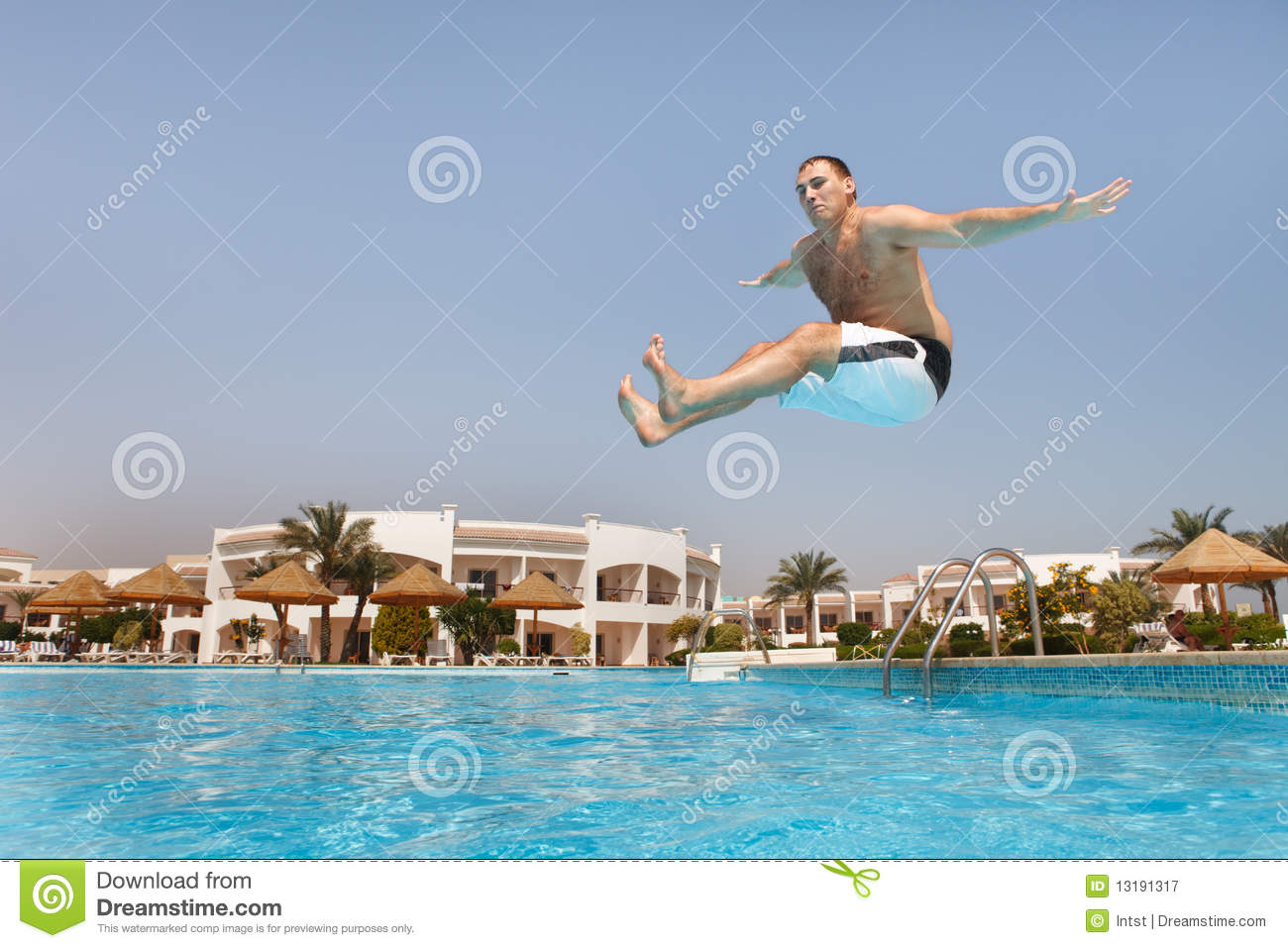 Man Jumping In Swimming Pool Stock Image Image Of Blue Diving 13191317