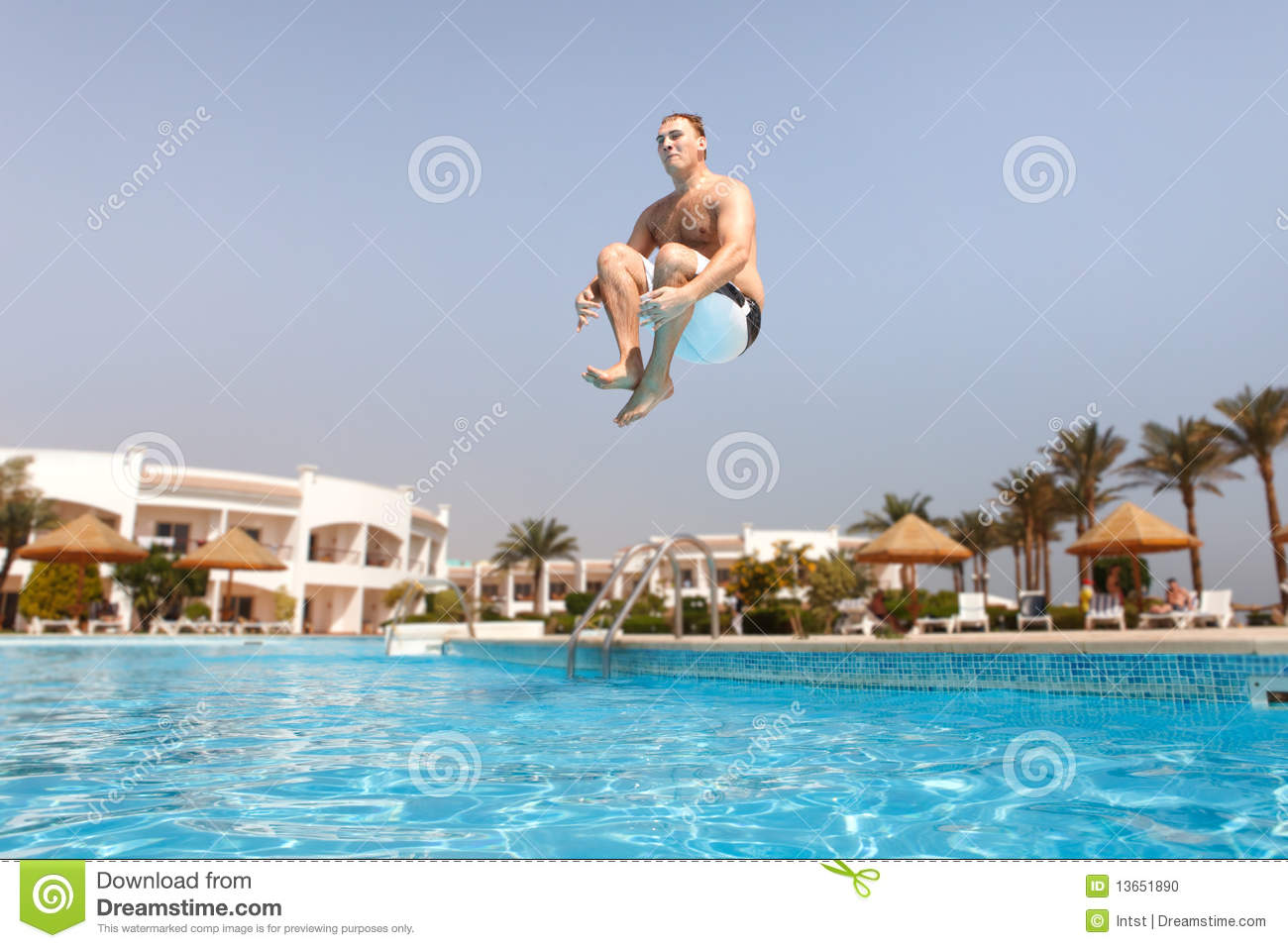 Man jumping in swimming pool stock photo image 13651890 for Pool time pools