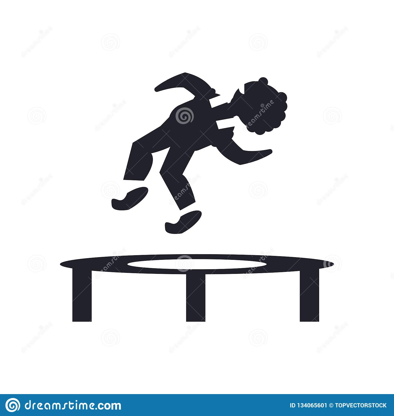 Man Jumping from a trampoline icon vector sign and symbol isolated on white background, Man Jumping from a trampoline logo concept