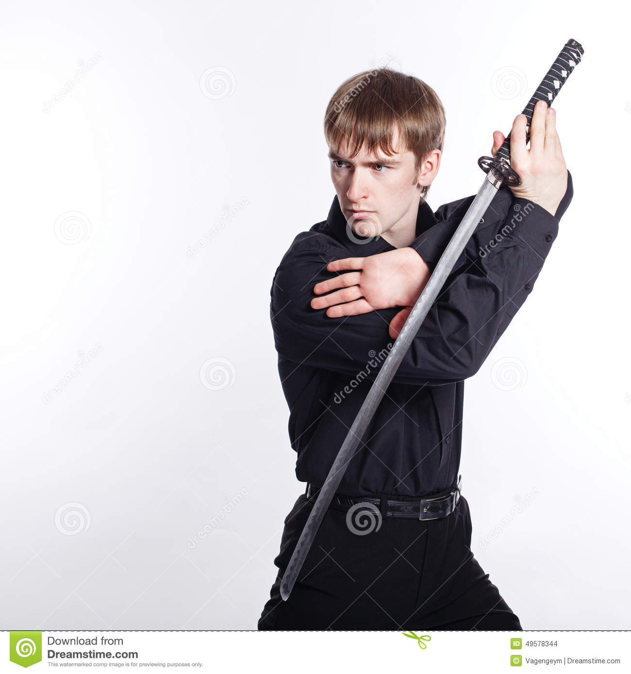 Technology Management Image: Man With Katana In Hand Stock Photo. Image Of Leadership