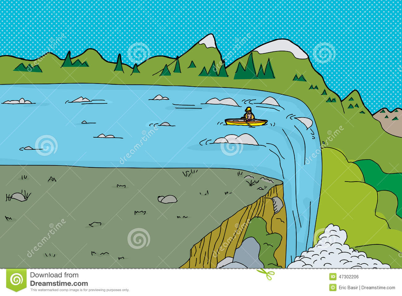 Stock Illustration Man Kayak Waterfall Single Canoe Near Edge Image47302206 on cartoon person falling down