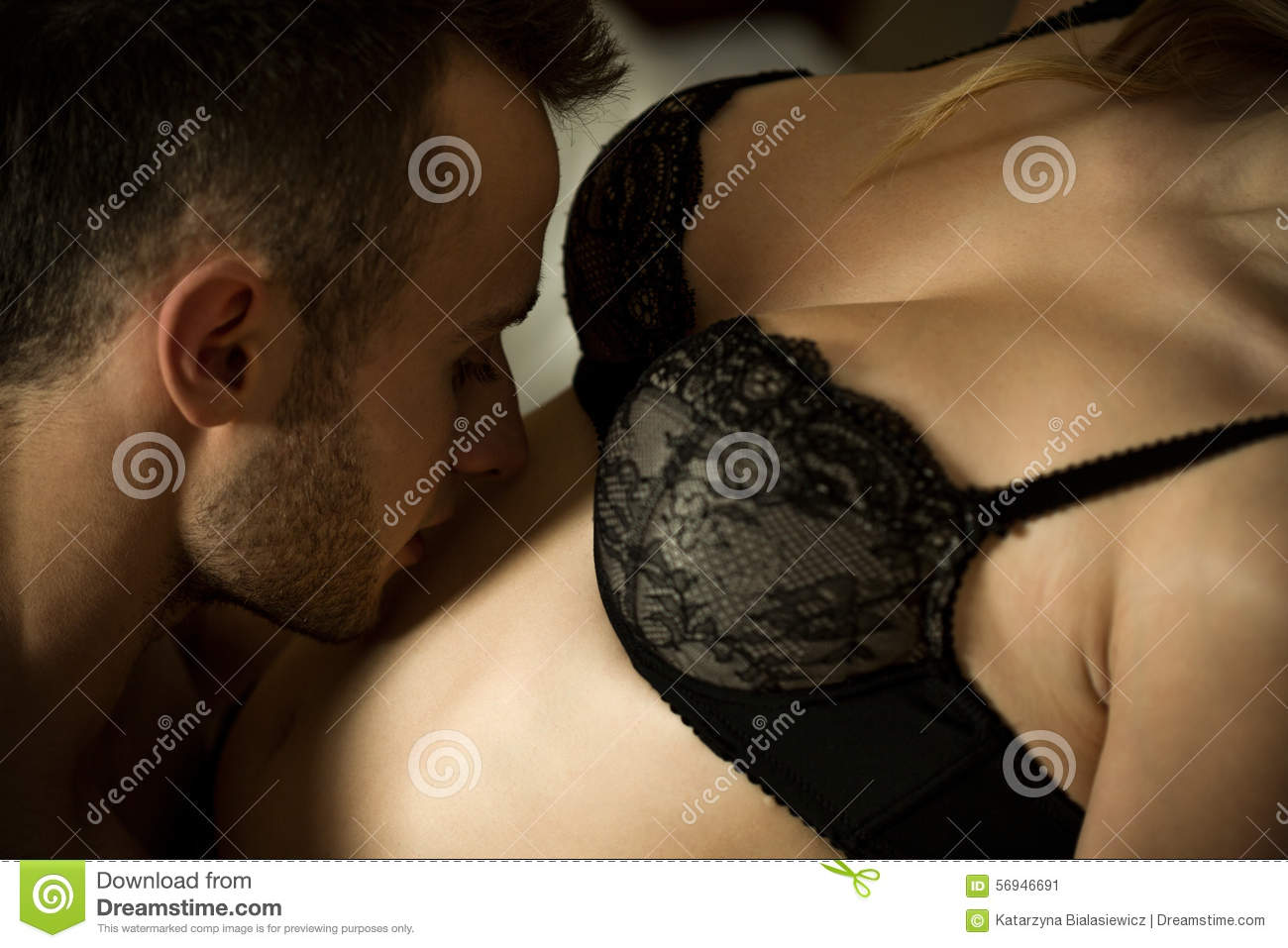 Romantic sex of male and female woman