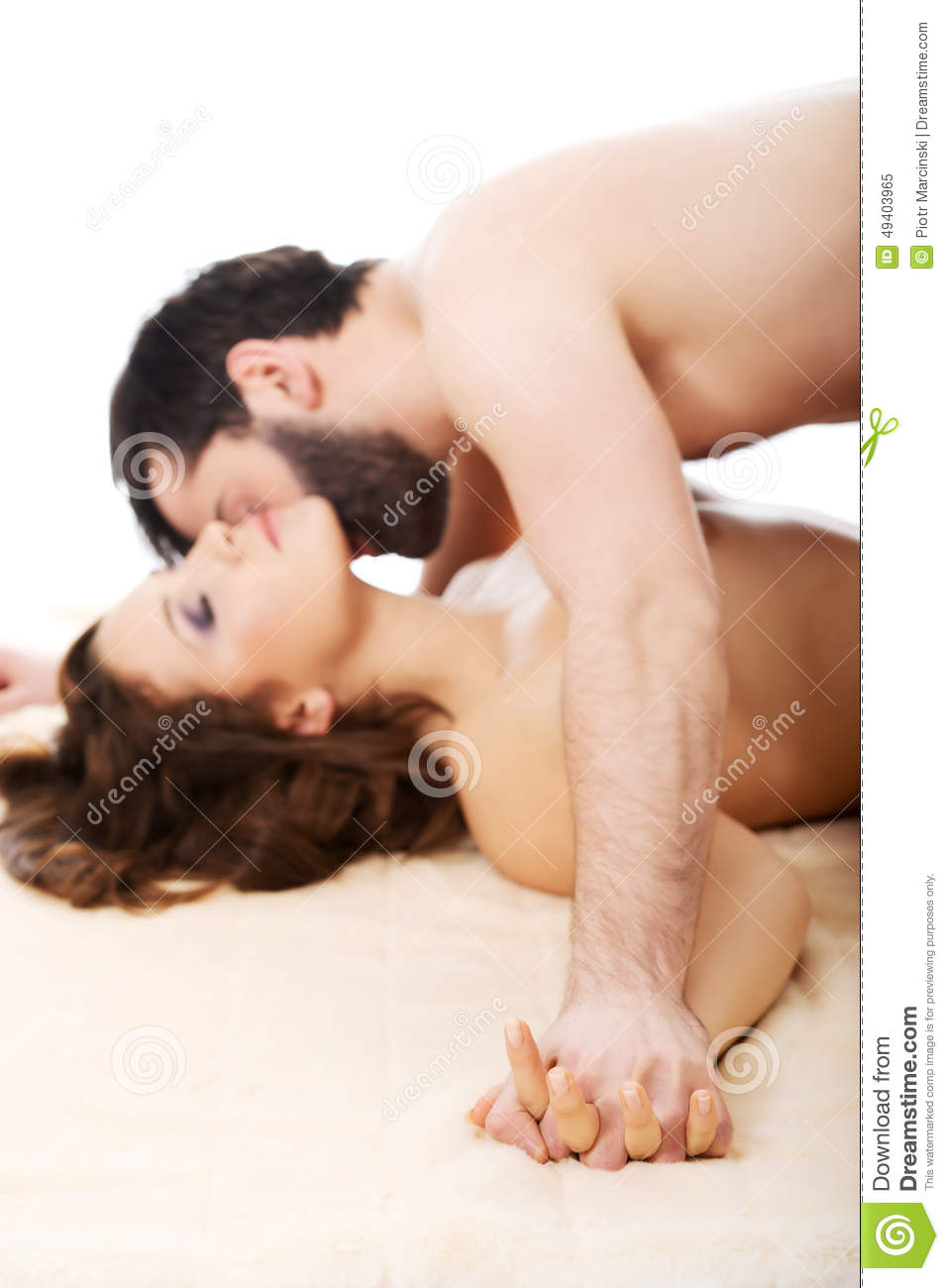Man Kissing Woman In Bedroom Stock Image - Image Of -7314