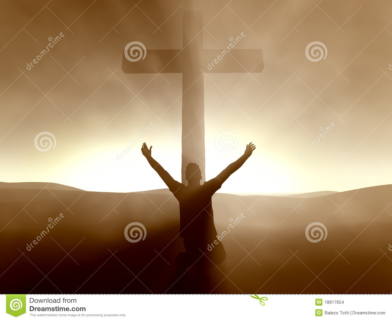 man kneeling at the cross of jesus christ stock images image