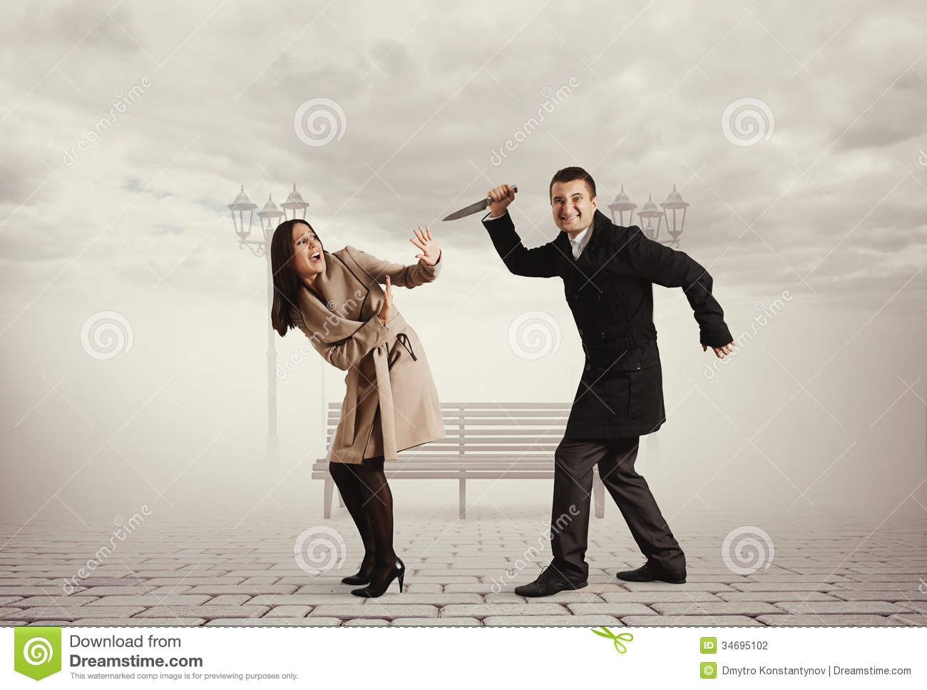 man with knife attacking woman stock photo image of rendezvous