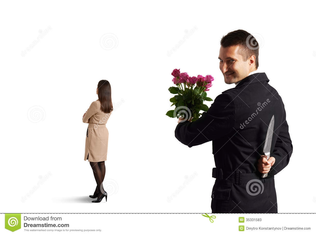 Man With Knife Standing Behind Woman Stock Photos Image