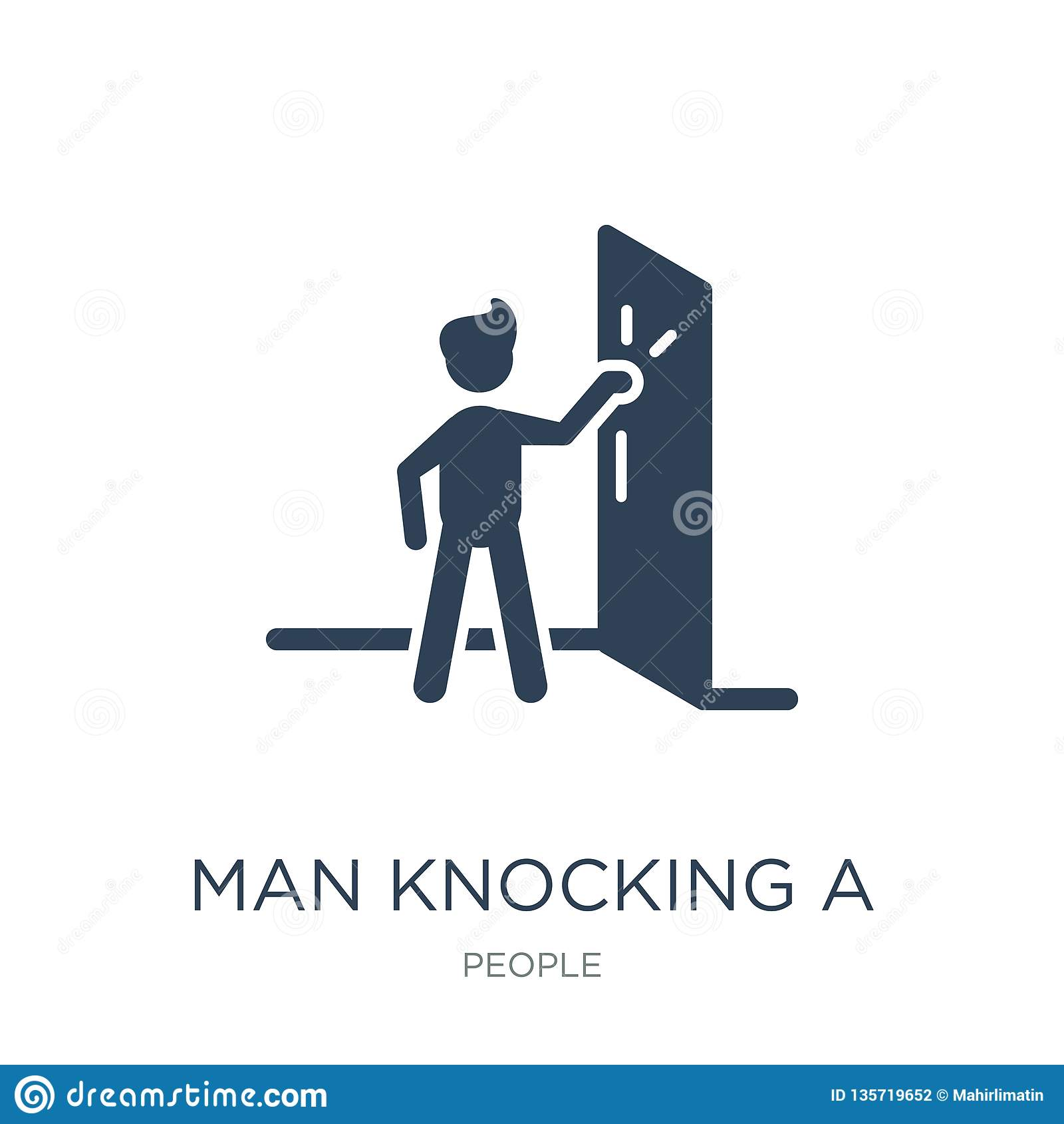 man knocking a door icon in trendy design style. man knocking a door icon isolated on white background. man knocking a door vector