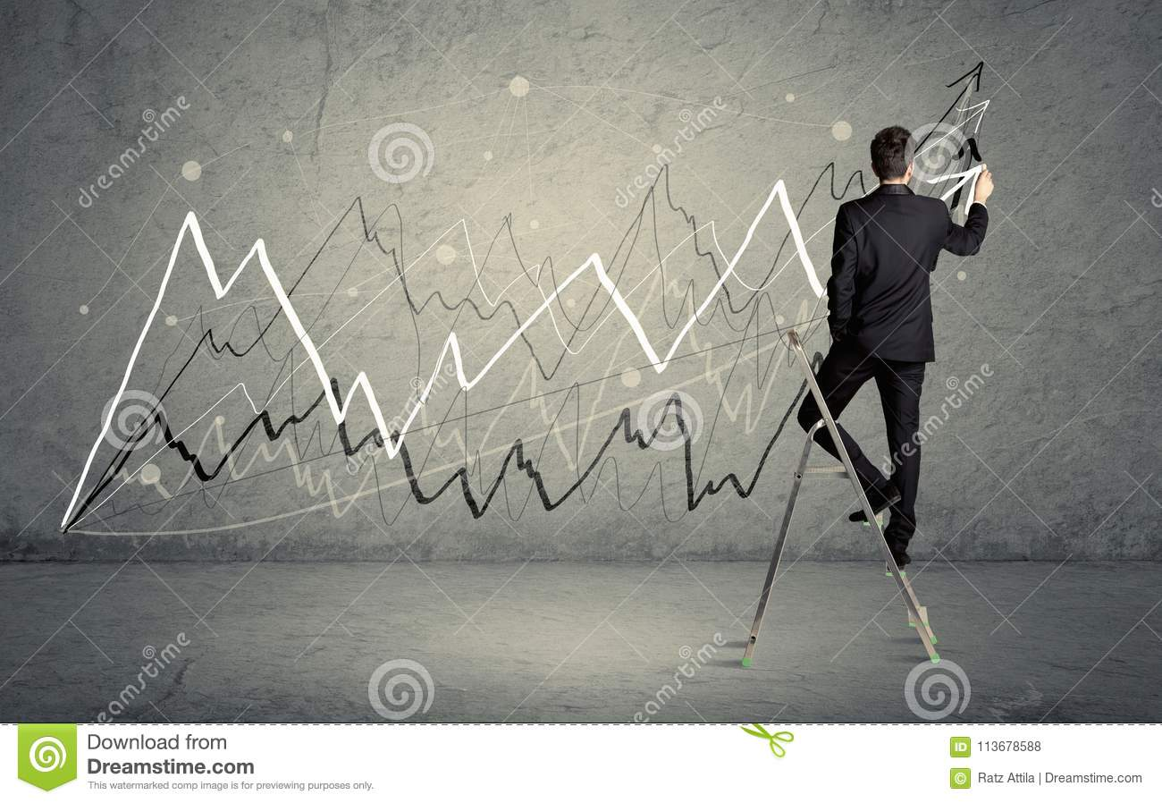 Drawing Lines With Arrows In Photo : Man on ladder drawing lines stock photo image of grey
