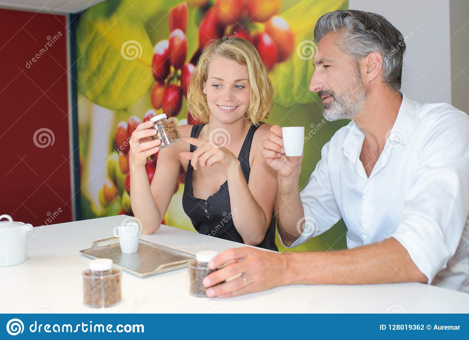 Man and lady testing coffee