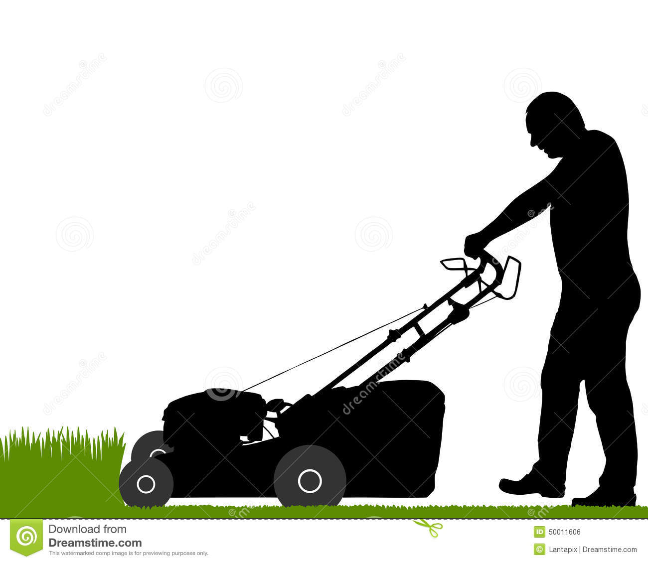 Detailed and accurate illustration of man with lawn-mower.