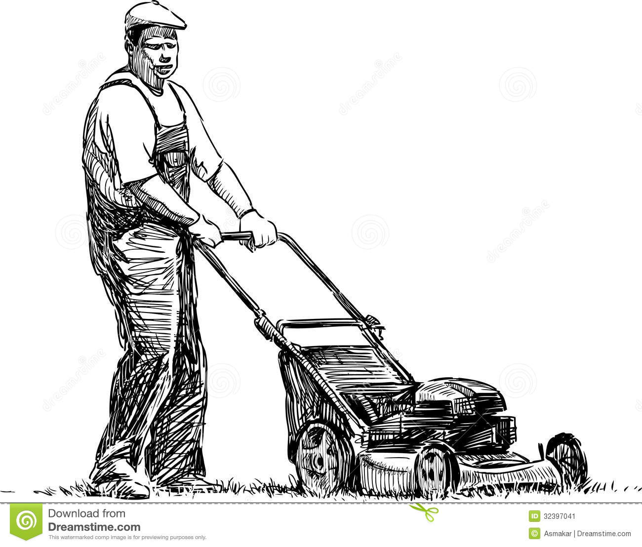 lawnmower drawing. royalty-free stock photo lawnmower drawing