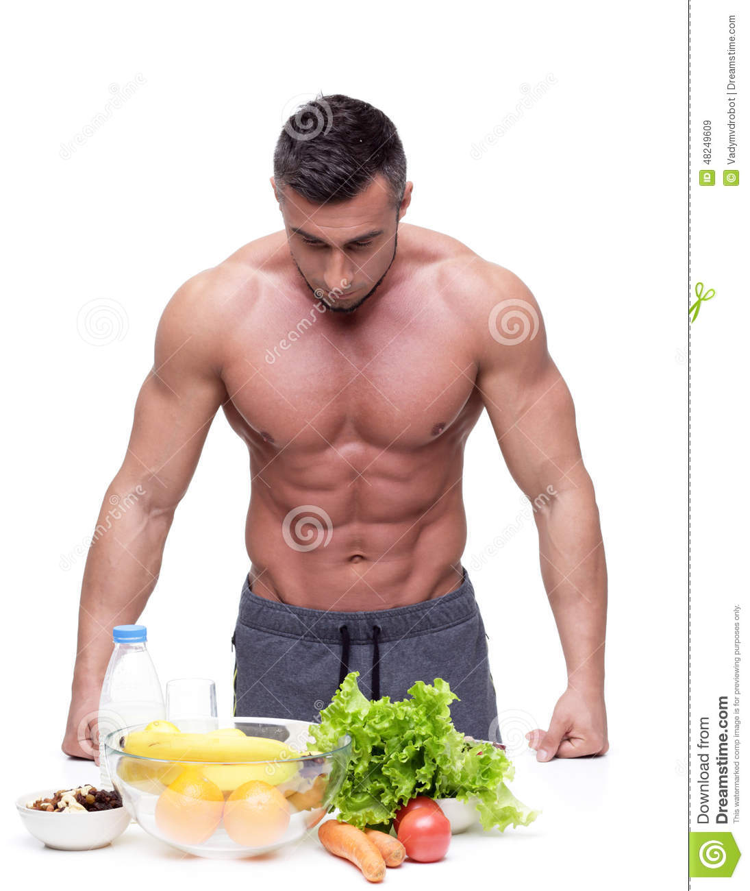 Man leaning on the table with healthy food