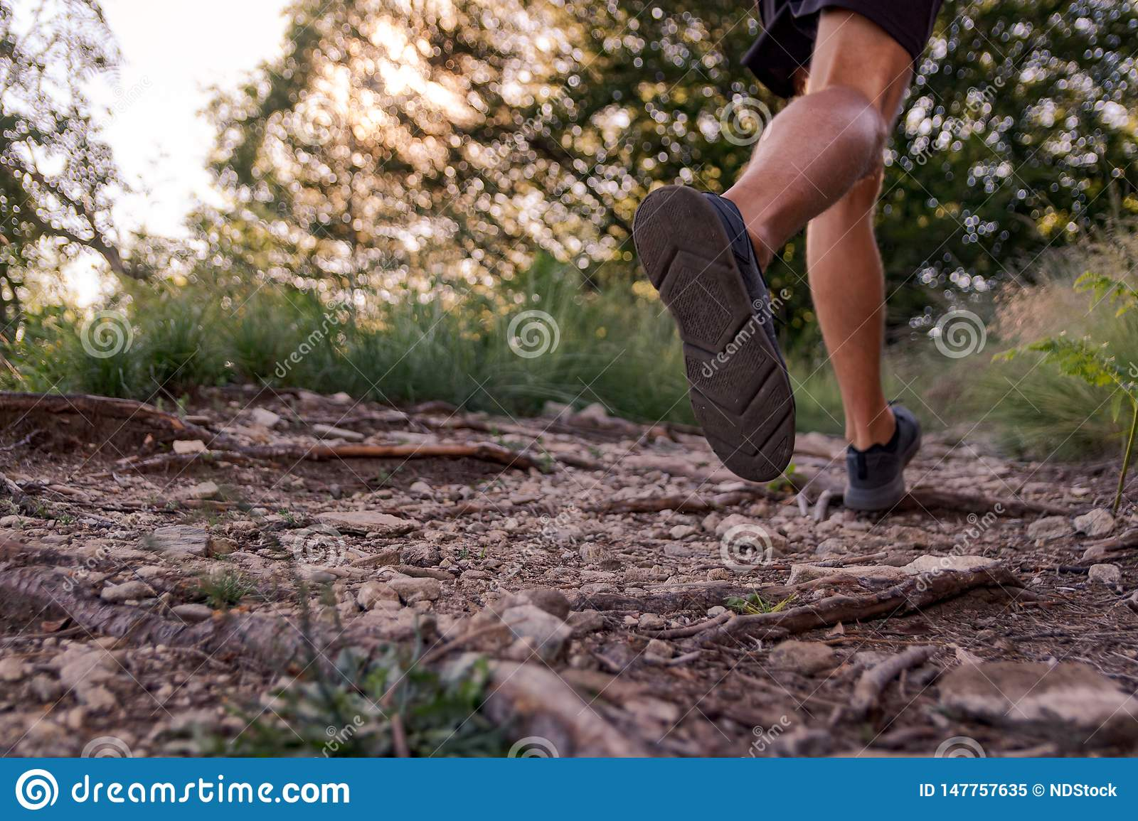 Man legs running on trail in the mountains