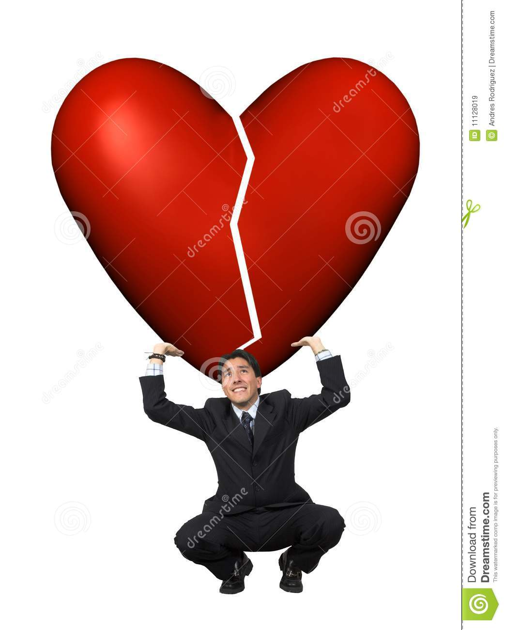 Man Lifting A Broken Heart Royalty Free Stock Images
