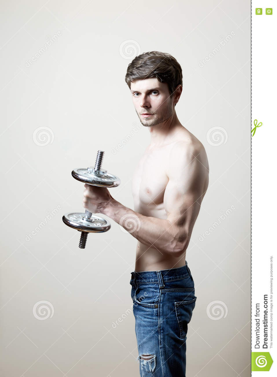 Man lifting dumbbell stock photo  Image of people, toned