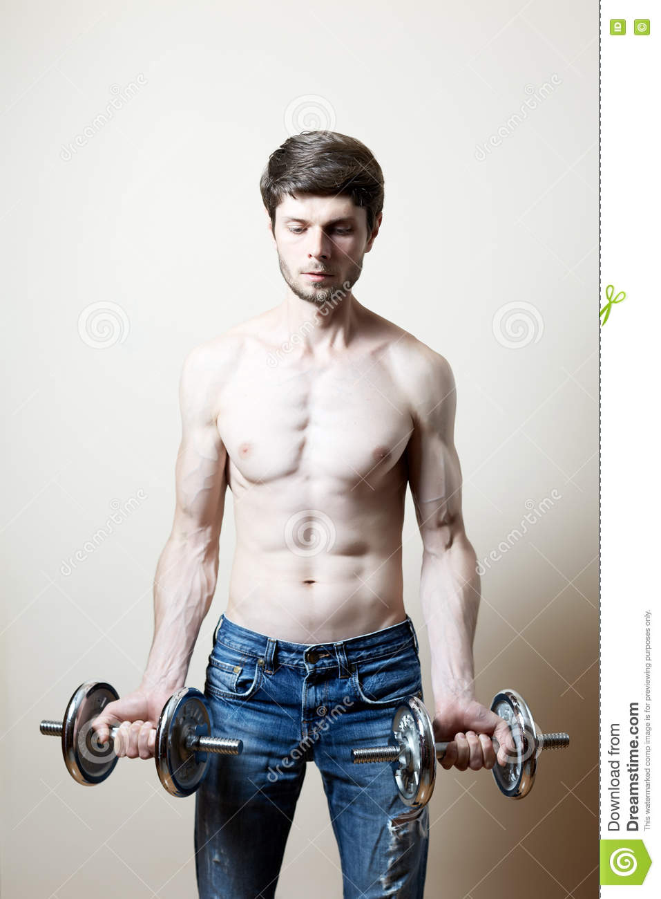 Man lifting dumbbell stock photo  Image of healthy, biceps