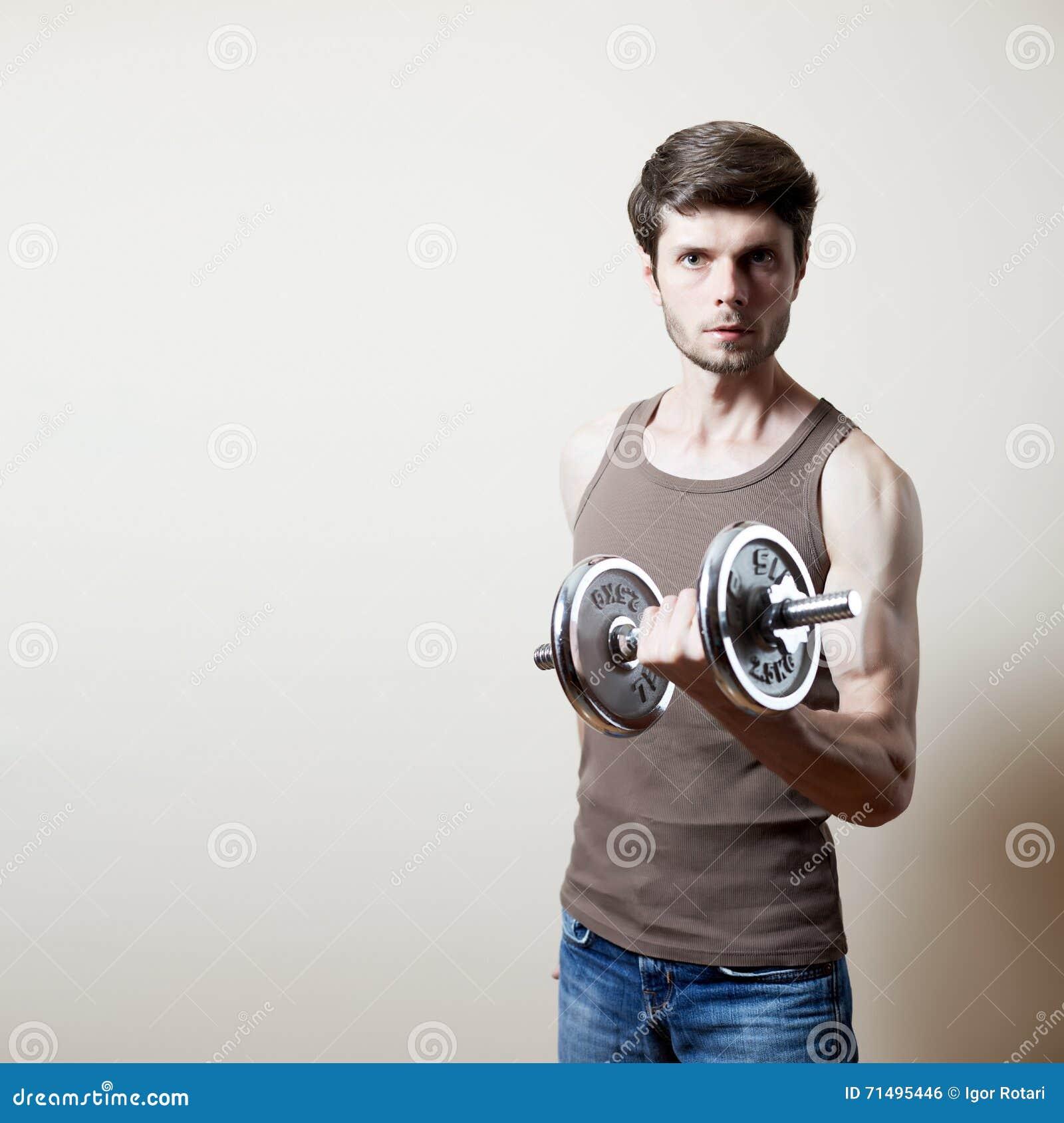 Man lifting dumbbell stock photo  Image of bodybuilder
