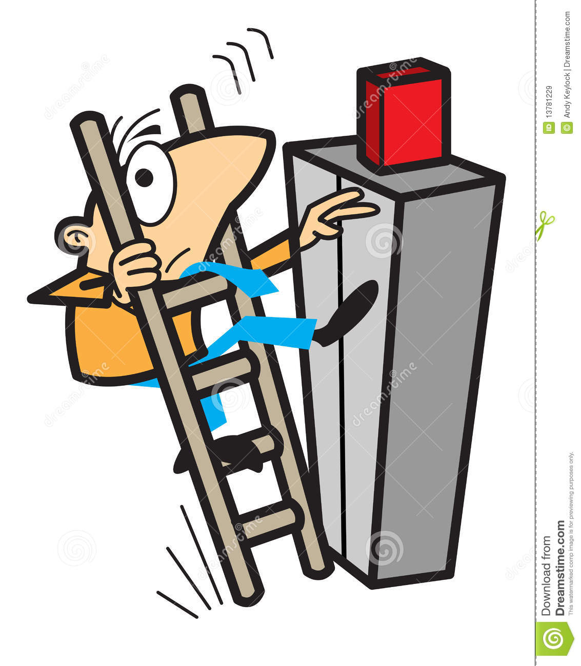 Man Lifting Falling Off A Ladder Stock Vector