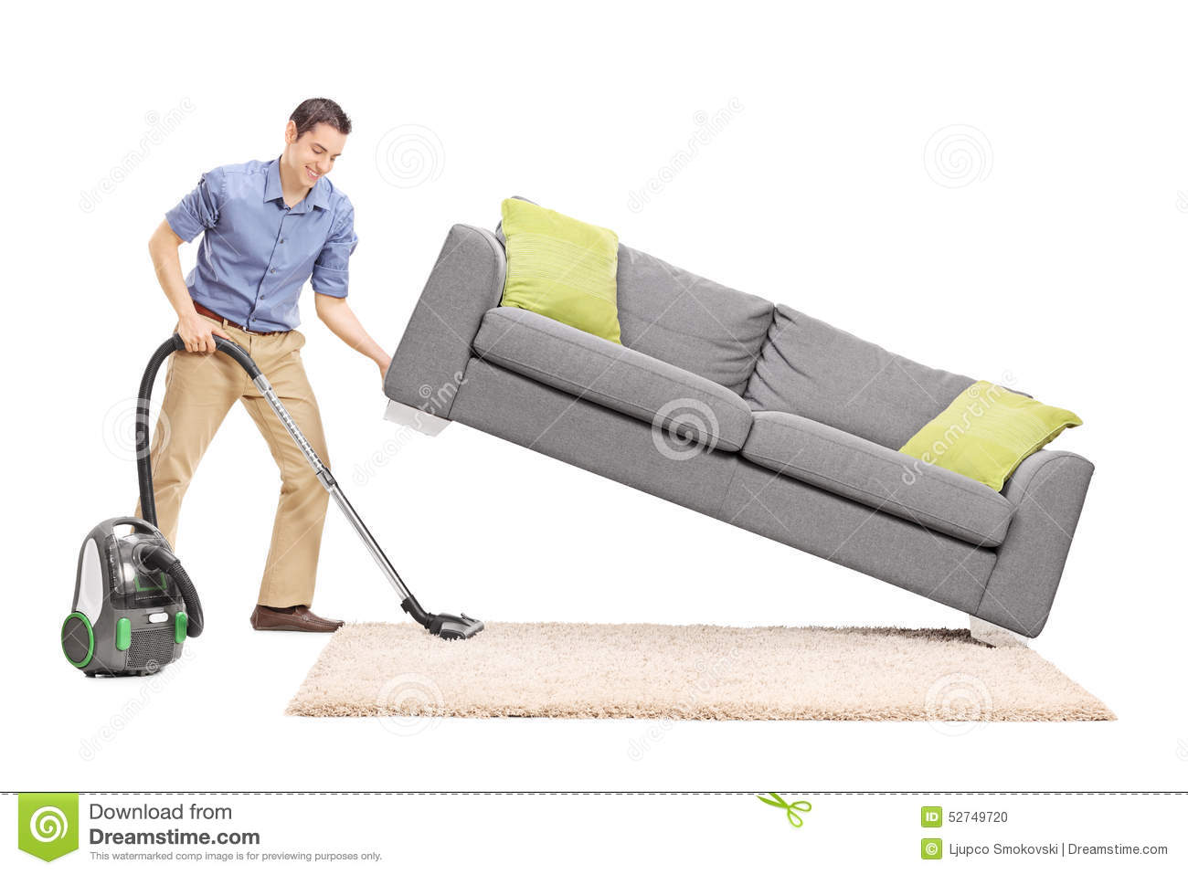 Man Lifting A Sofa And Vacuuming Underneath It Stock Photo  : man lifting sofa vacuuming underneath cheerful young cleaning vacuum cleaner isolated white background 52749720 from www.dreamstime.com size 1300 x 957 jpeg 96kB