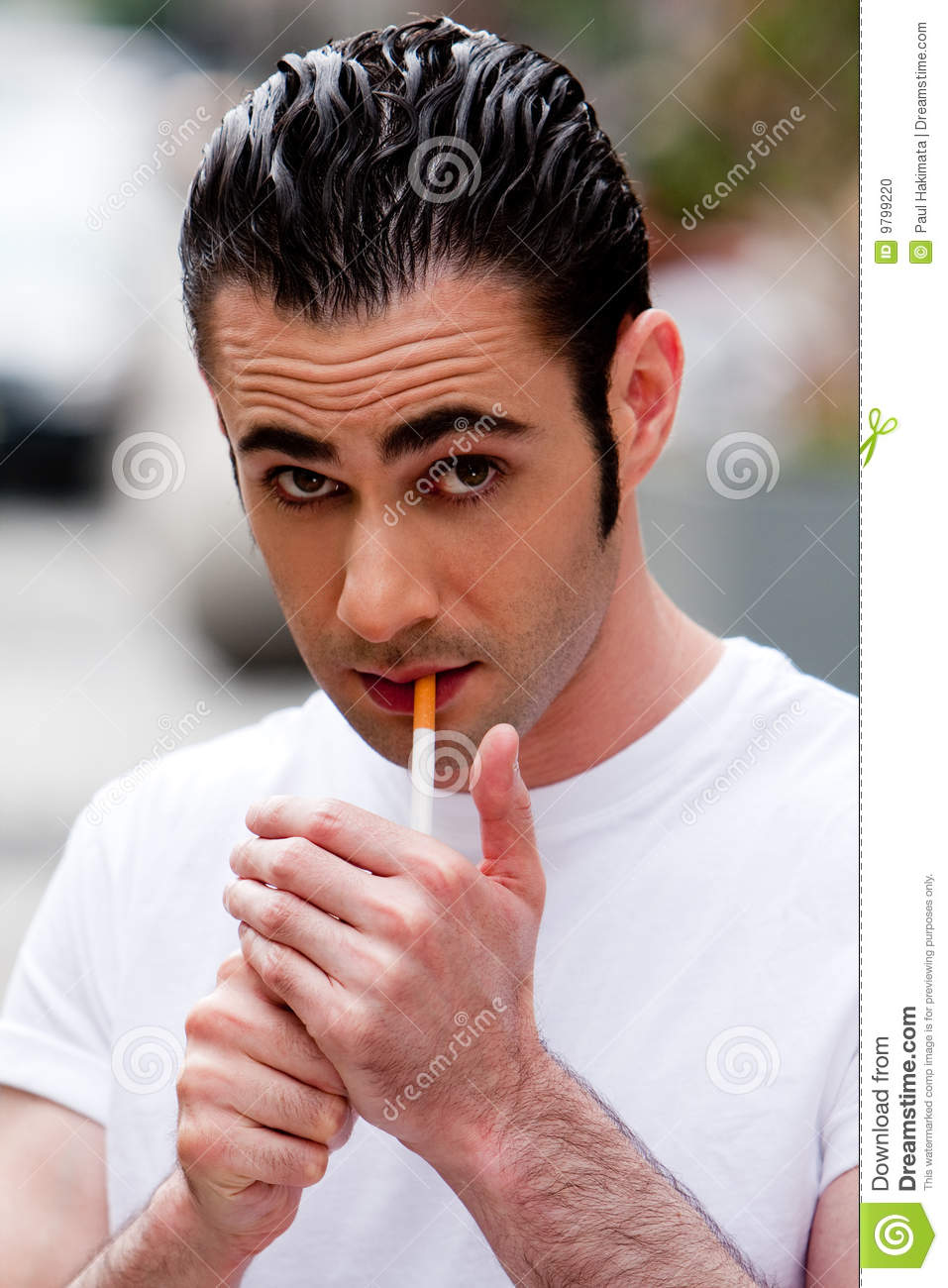 Man Lighting Cigarette Stock Photo Image 9799220