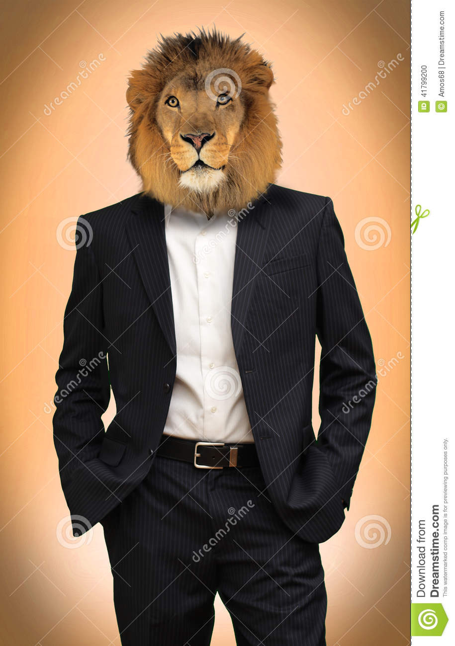 Man with lion head stock photo. Image of sexist, male ... Dominant Man In Suit