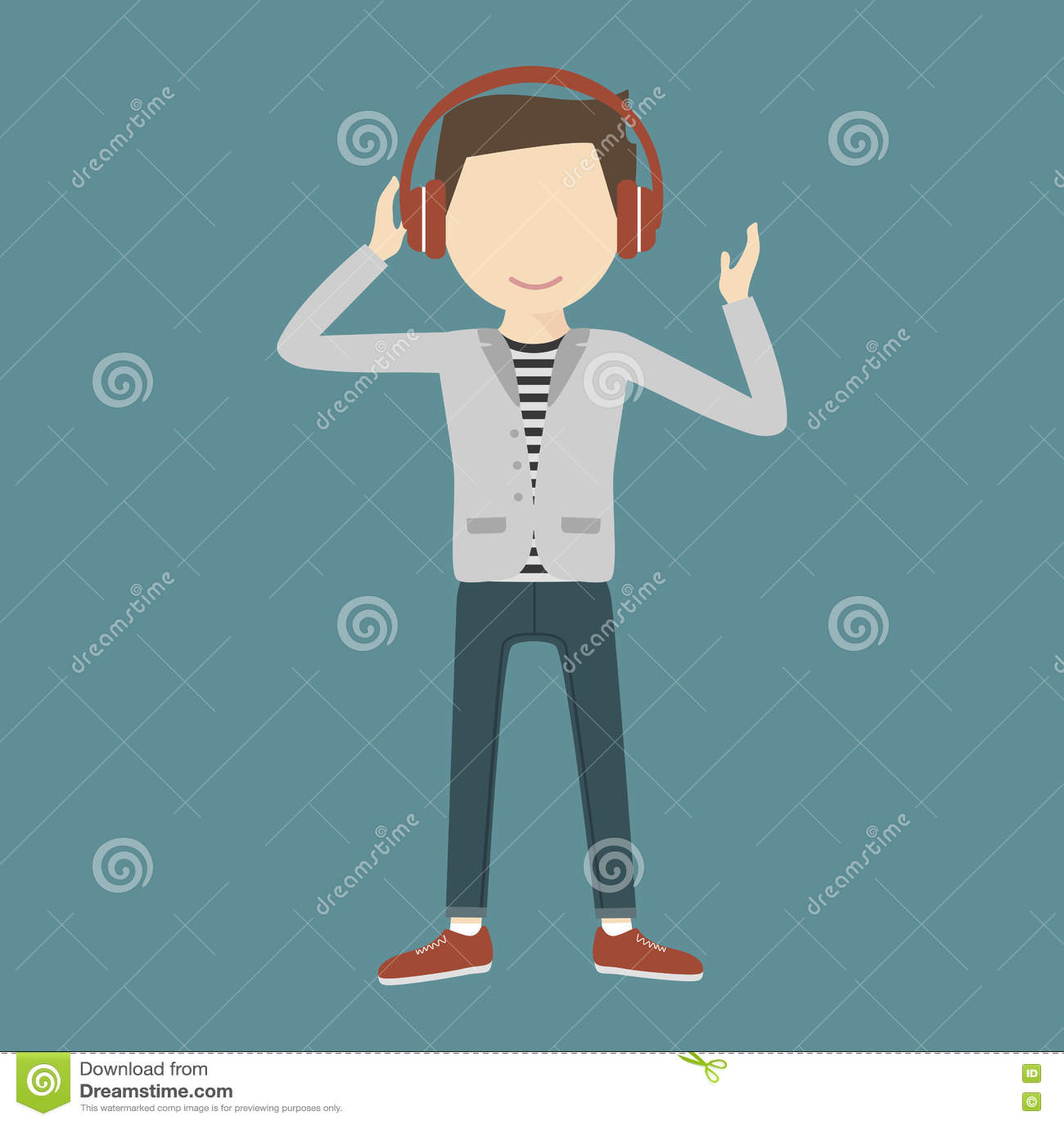 Man Listening Music Through Headphones
