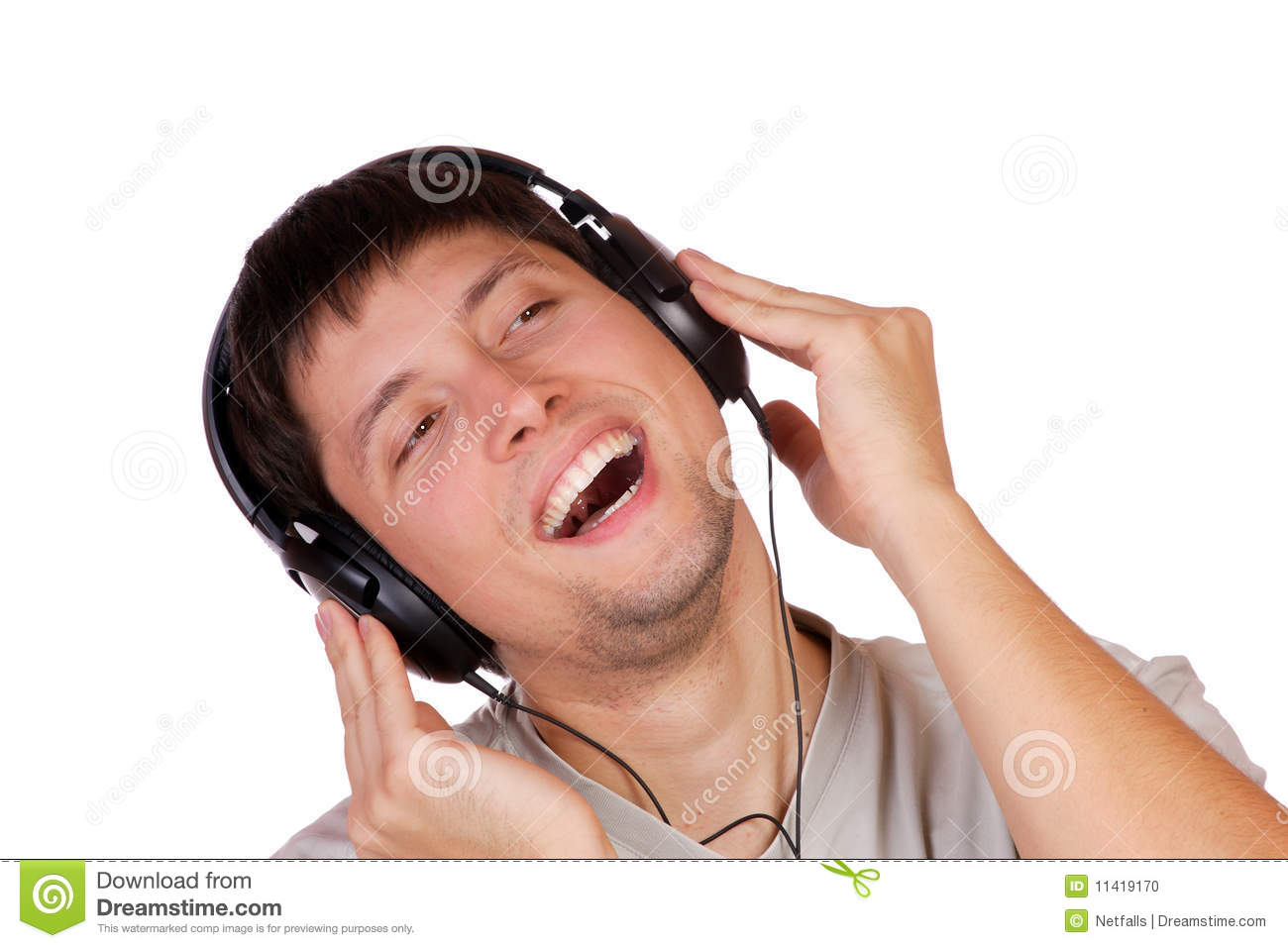 man is listening to the music stock photo image 11419170 Free Camera Vector Headphones Vector Art