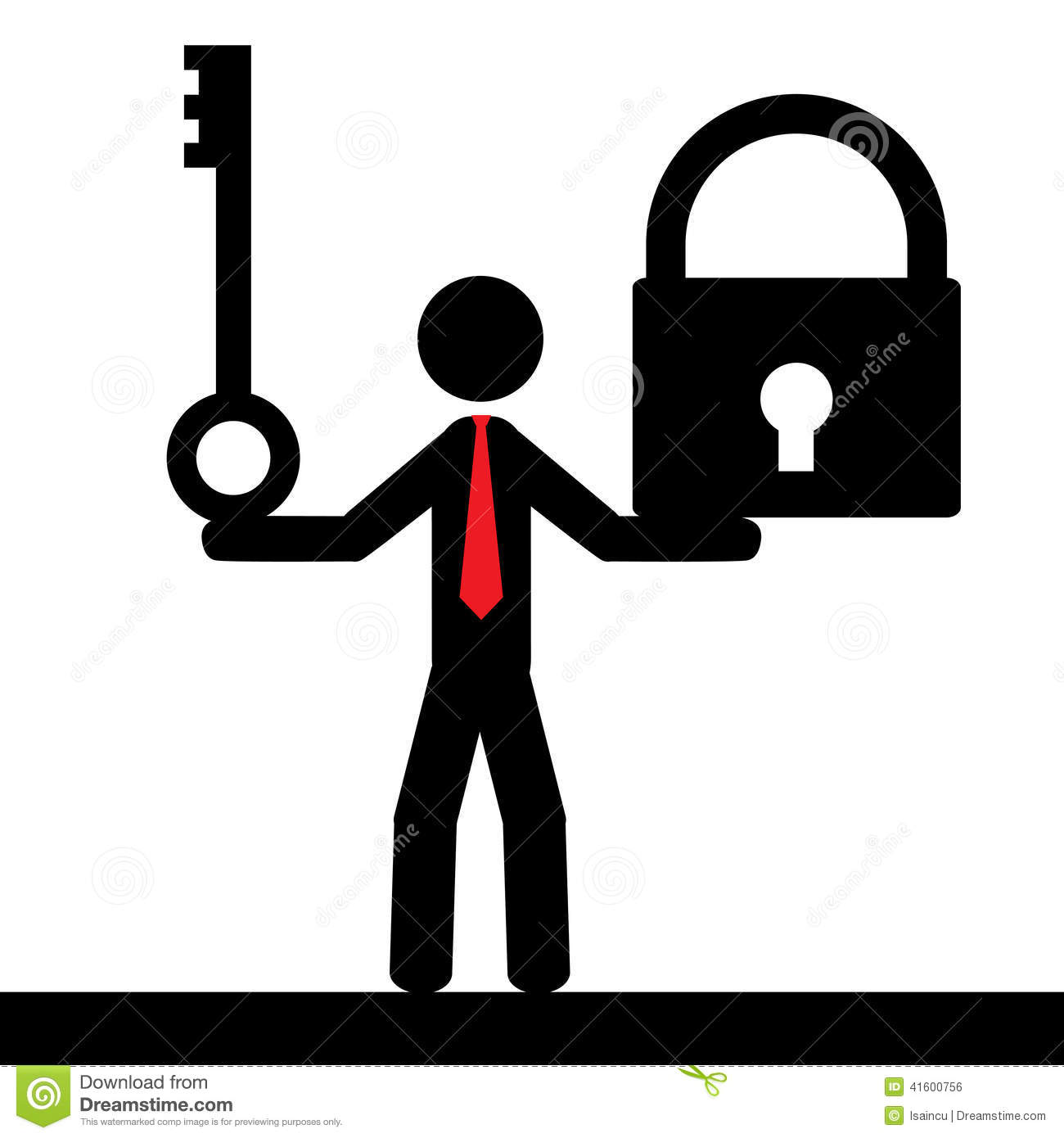 Vector Key Illustration: Man With Lock And Key Stock Vector. Image Of Abstract