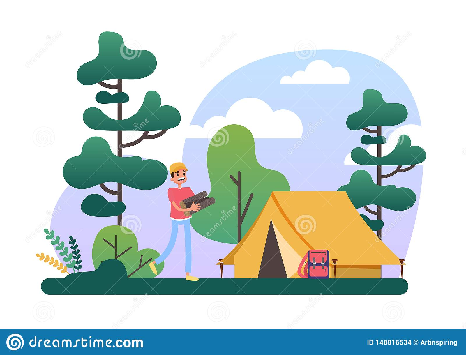 Man With Log Pile Standing At The Camping Tent Stock Vector