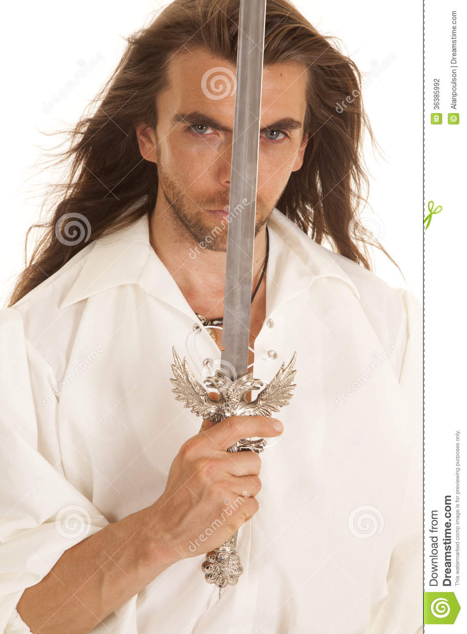 Man Long Hair Sword In Front Of Face Stock Photo Image Of Defense