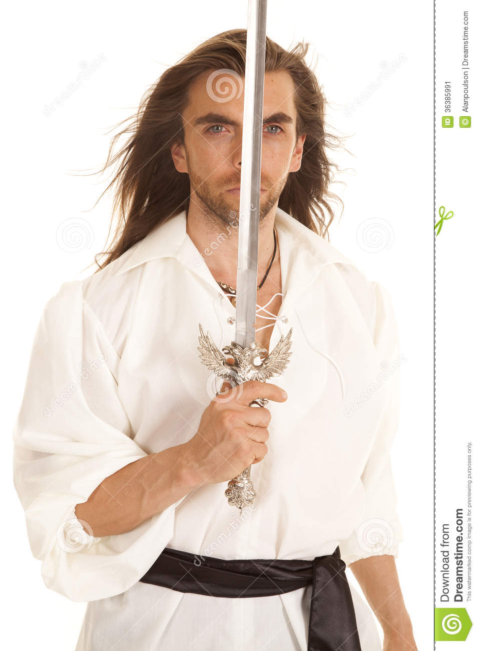 Man Long Hair Sword Up Front Of Face Stock Image Image