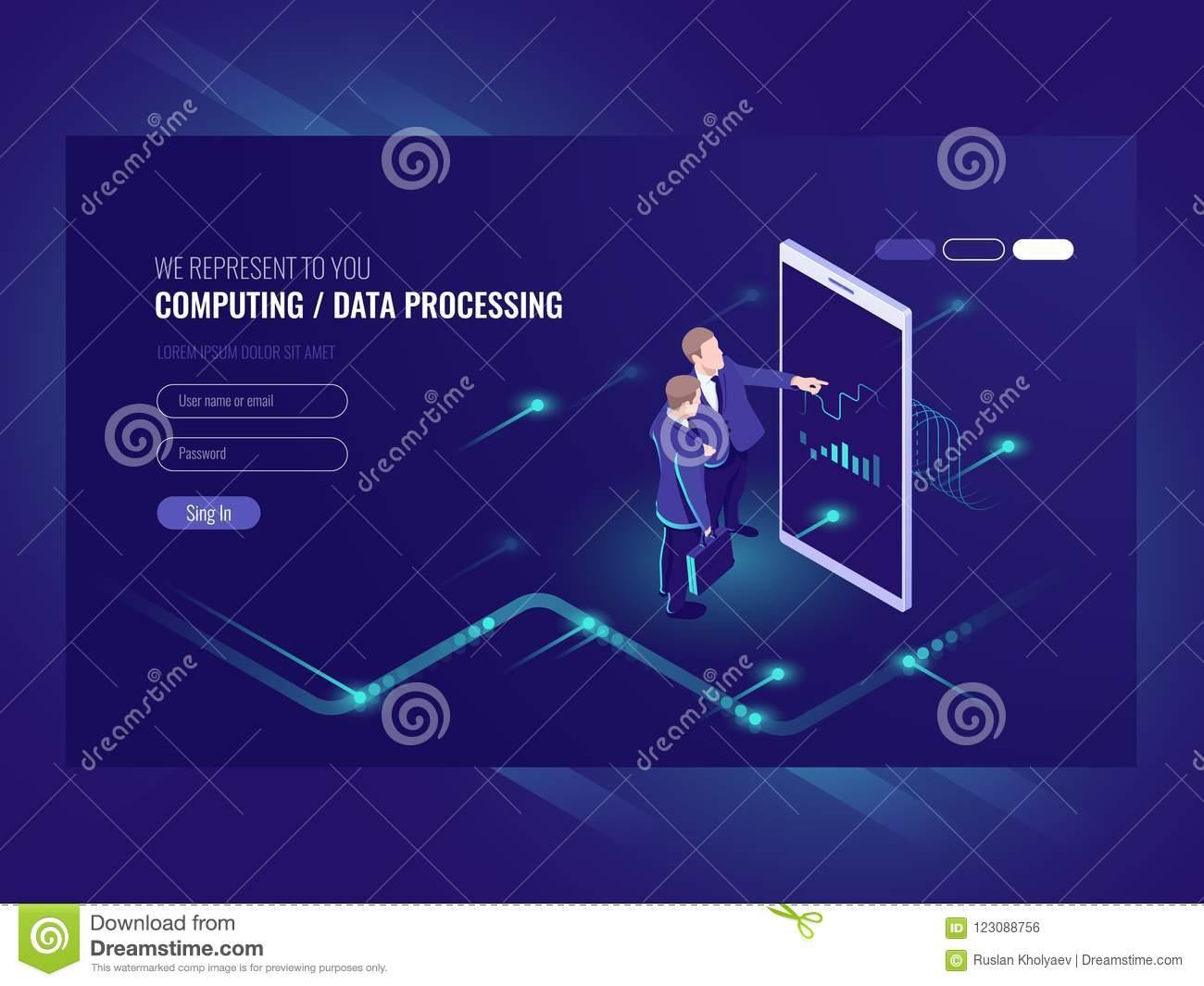 Man look graphic chart, business analytics concept, big data processing icon, virtual reality interface, server room