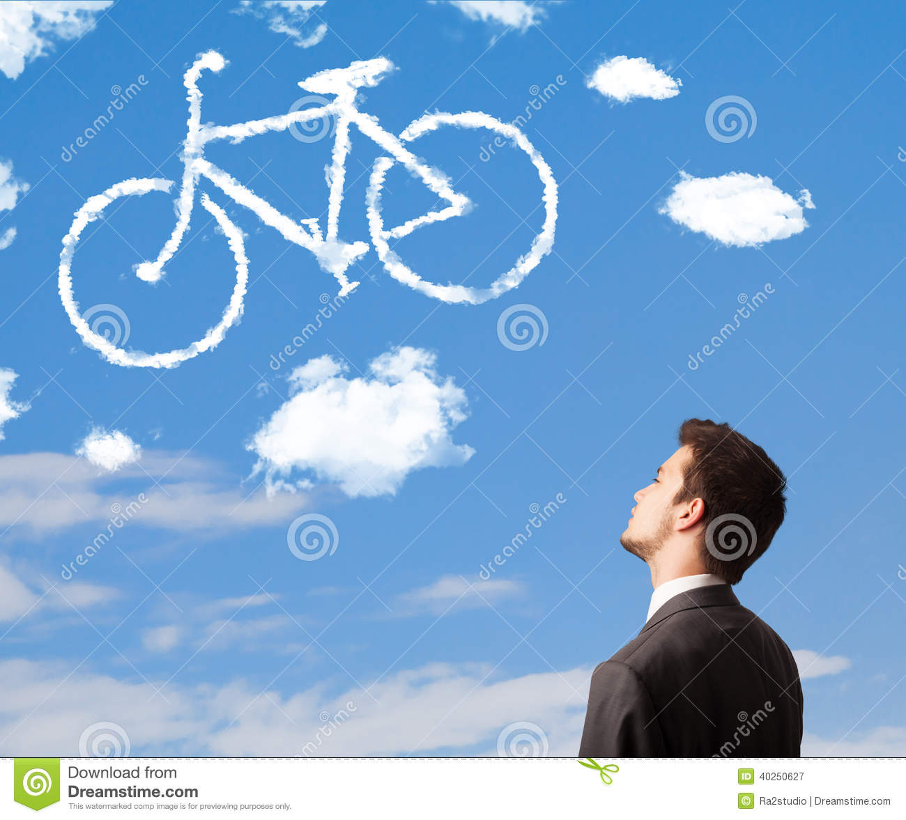 man looking at bicycle clouds on blue sky