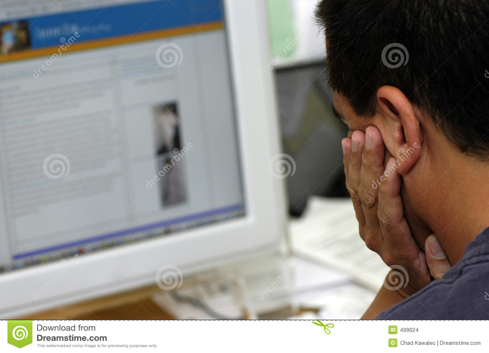 Man Looking At Computer Screen Stock Images Image 499024