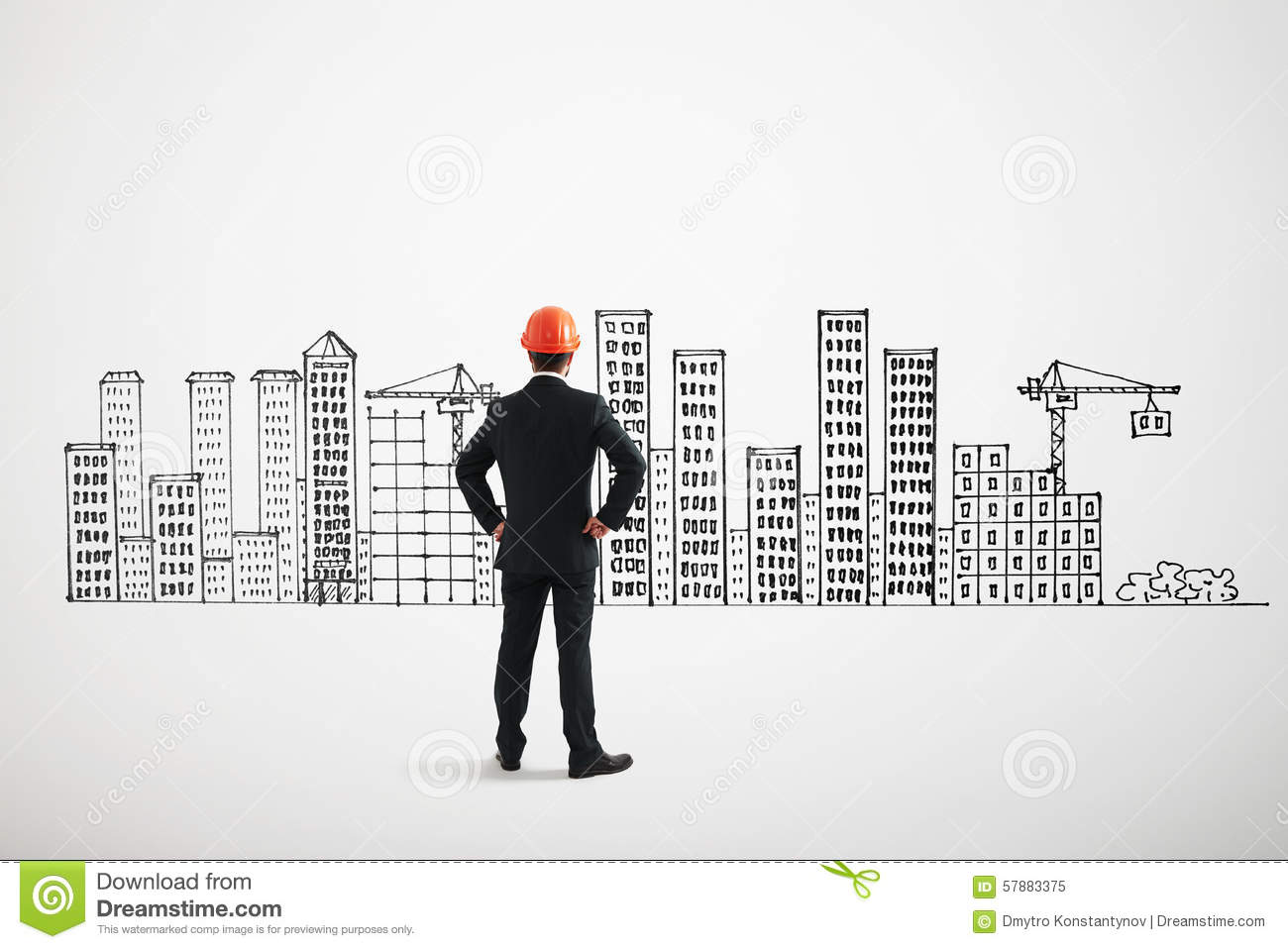 Man Looking At Drawing Cityscape Stock Photo - Image: 57883375