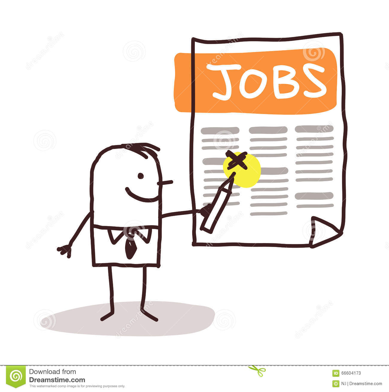 Man Looking For Jobs Listing Stock Vector Illustration Of