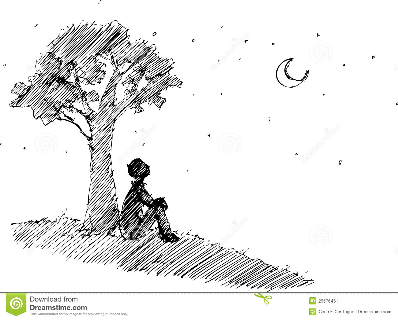Romantic black and white sketchy illustration man sitting under a tree looking at the moon