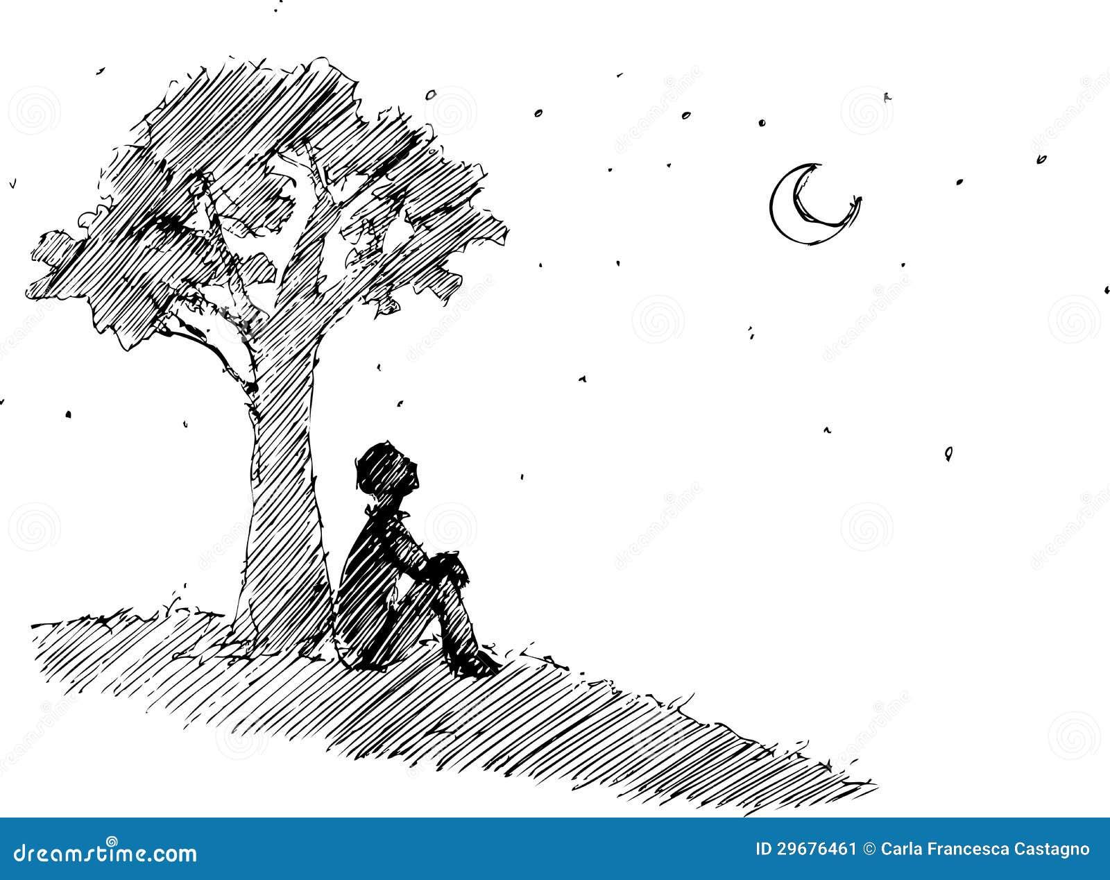 Man looking at the moon vector stock vector illustration